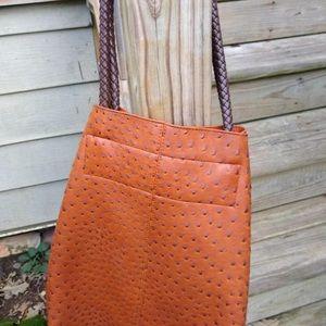 Handbags - Faux ostrich leather shoulder bag